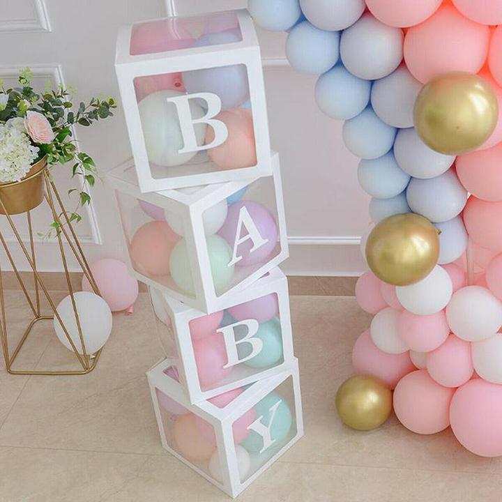 Decorative baby blocks and balloons