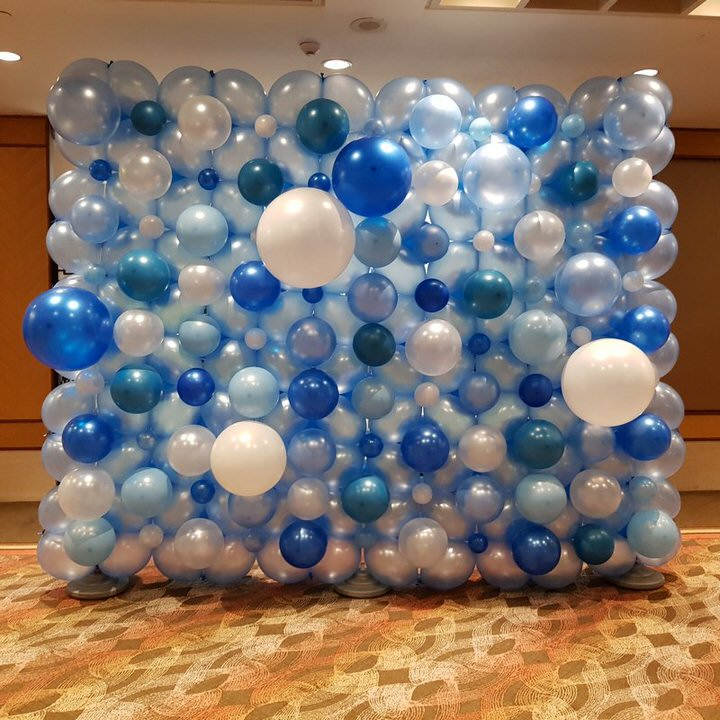 blue and white ballon wall