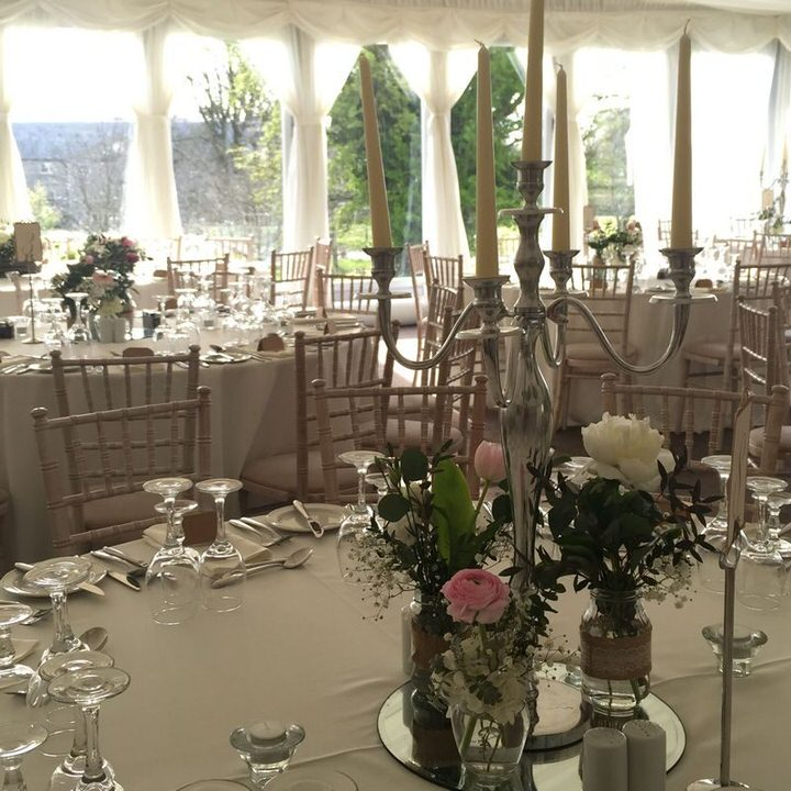 candelabra on function table