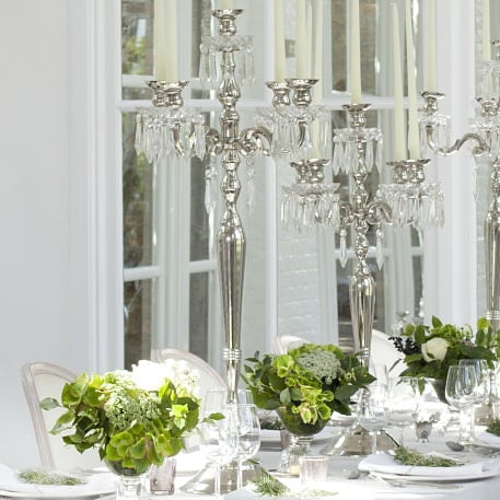 candelabra on guest wedding table