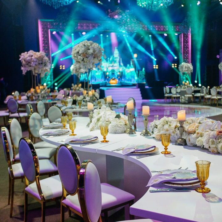event room with stage lighting