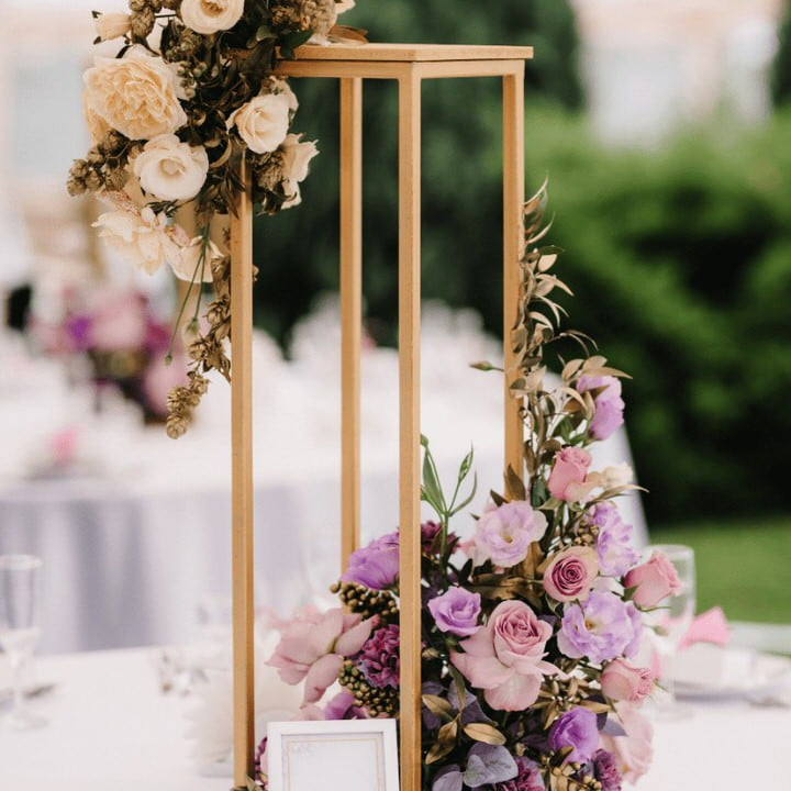 Floral Stand with pink purple cream flowers