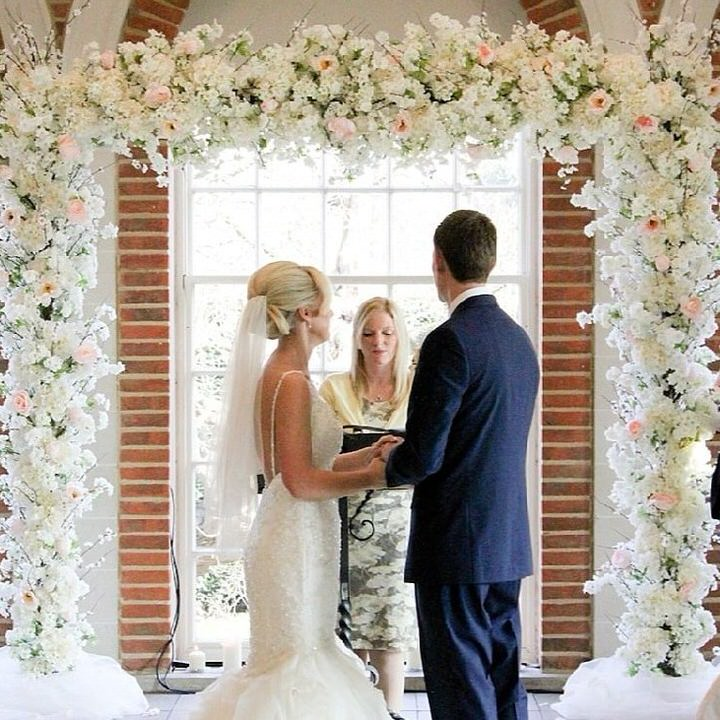Square white Flower Arch with wedding couple