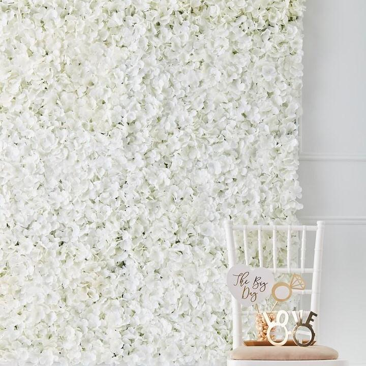 White Flower Wall with white chair