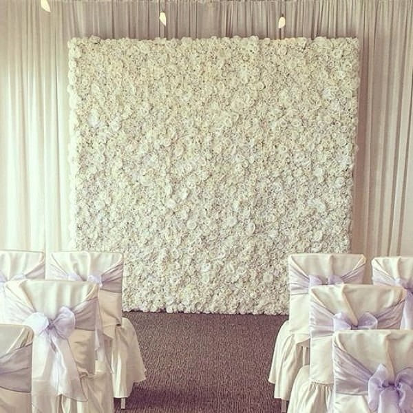 White Flower Wall & chairs with lilac bows