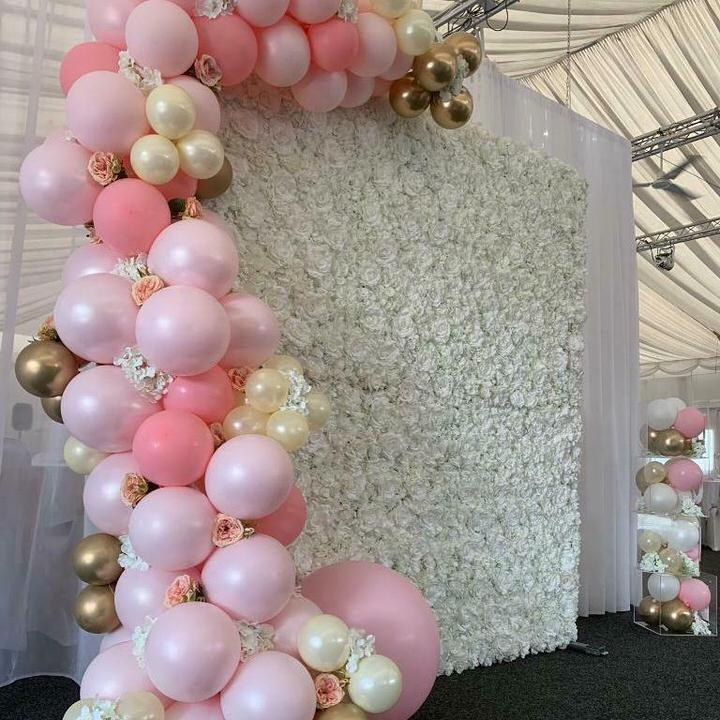 White Flower Wall with pink & cream balloons