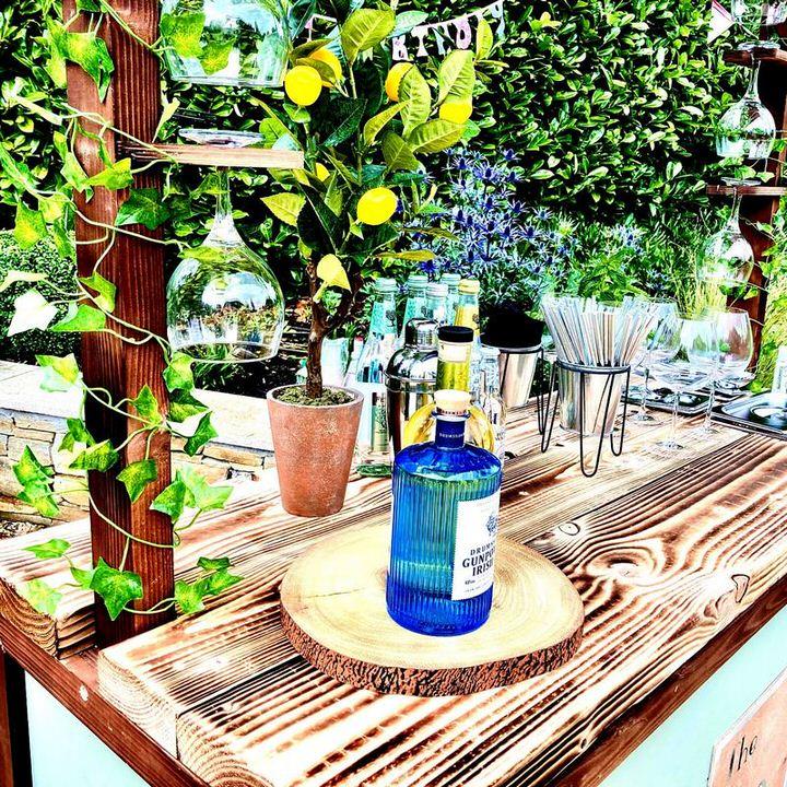Gin bottles, lemon tree & glasses on gin bar top
