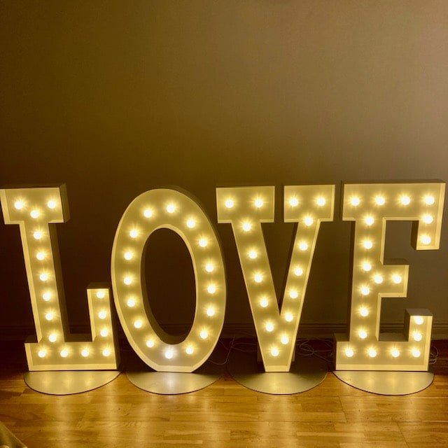 4ft high letters spelling love
