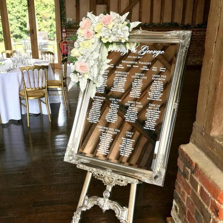 Mirror Table Plan on silver easel with pink,yellow & white flowers