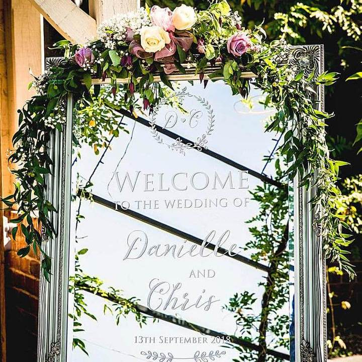 Mirror Welcome Sign Danielle & Chris
