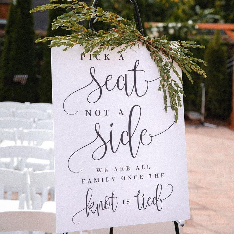 white seating sign