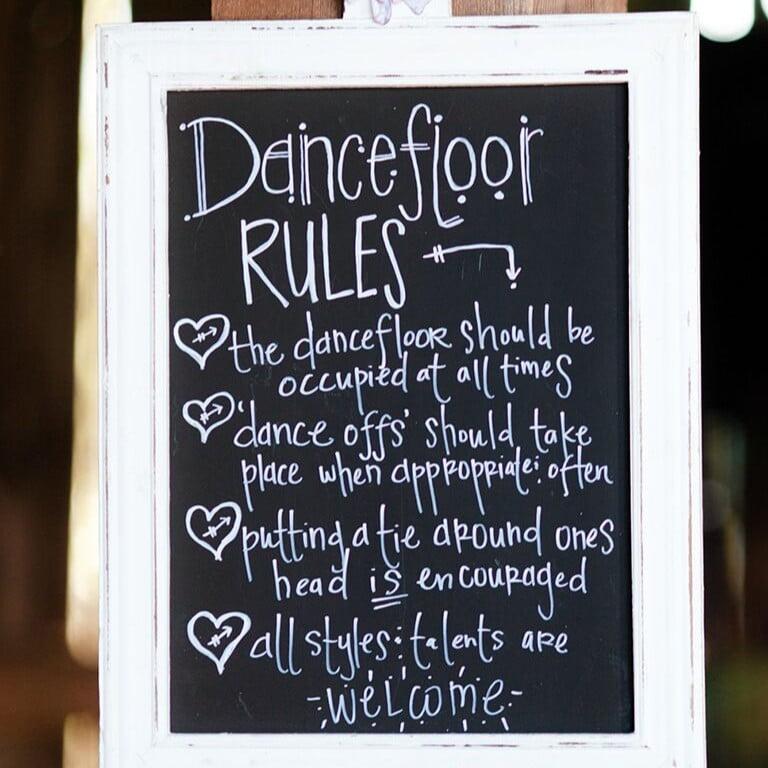 dancefloor rules sign