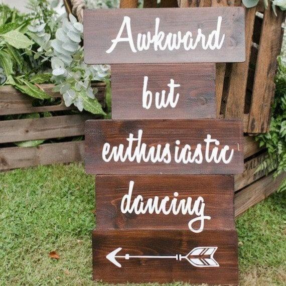 awkward but enthusiastic dancing sign