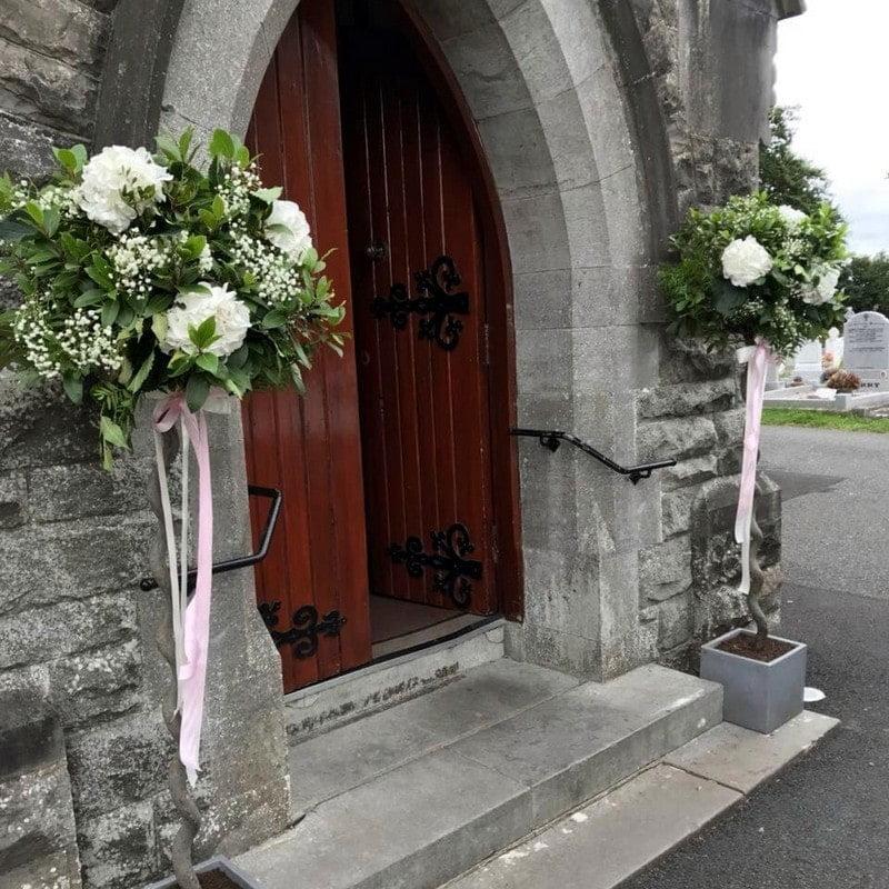 flowers outside church door