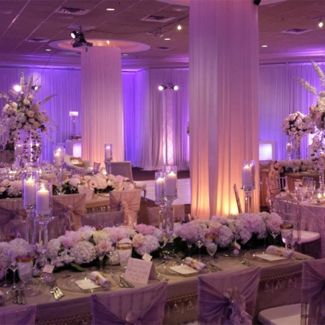 purple lit wedding function room