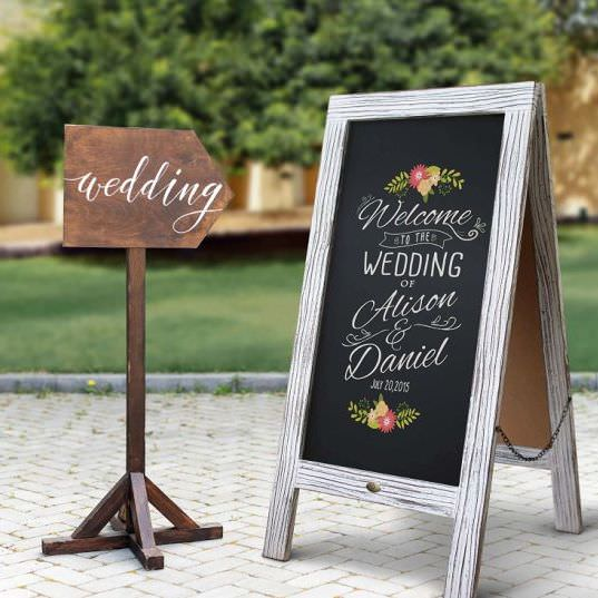 Chalkboard Wedding Welcome Sign & wedding wooden arrow sign