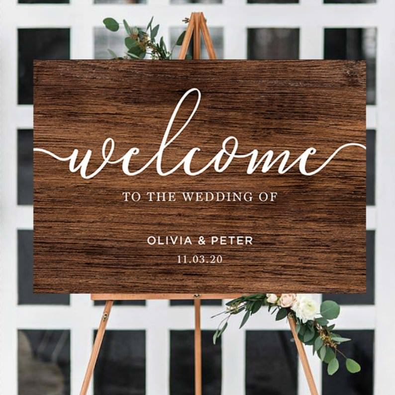 Wooden Welcome to our wedding Sign Olivia & Peter on wooden easel