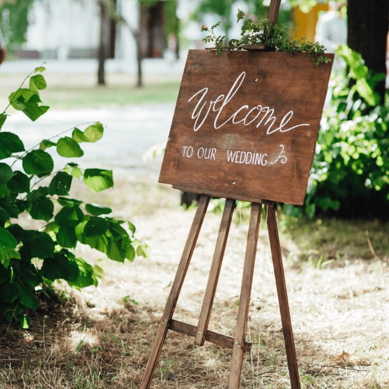 Wooden Welcome to our wedding Sign outside