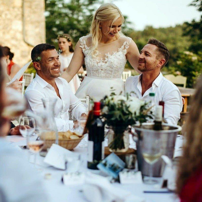 bride entertaining at wedding