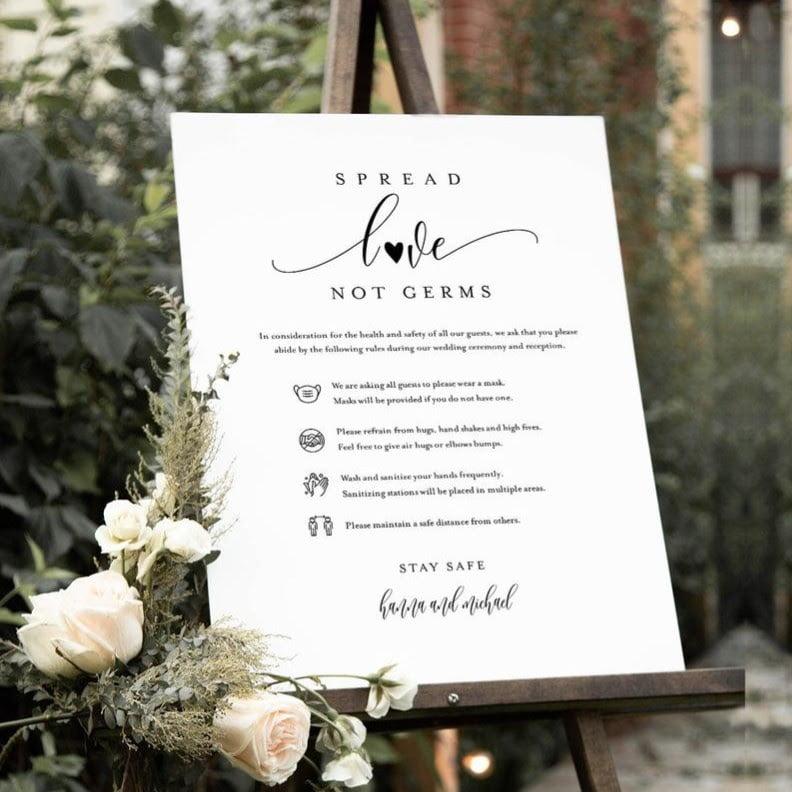 white wedding sign