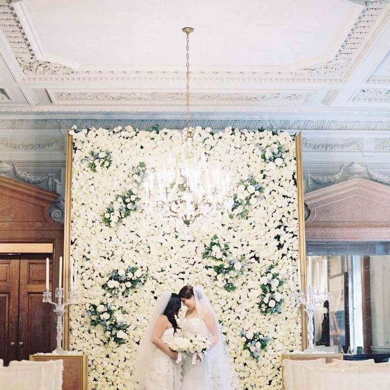 white wedding flower wall