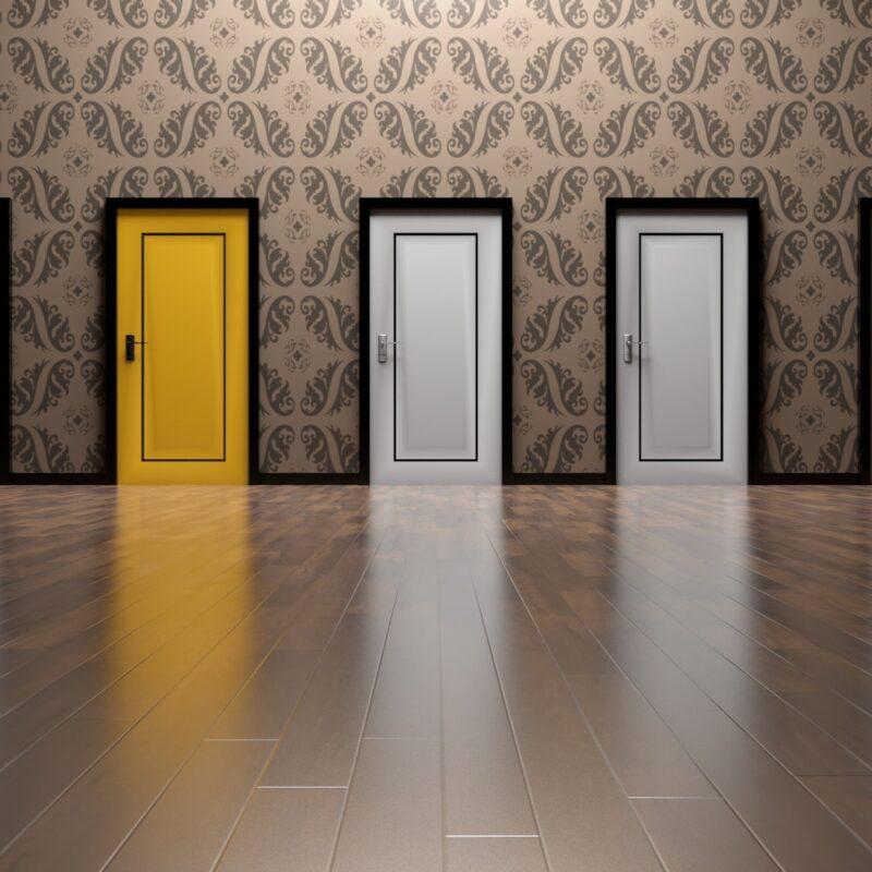 1 yellow door and 2 white doors