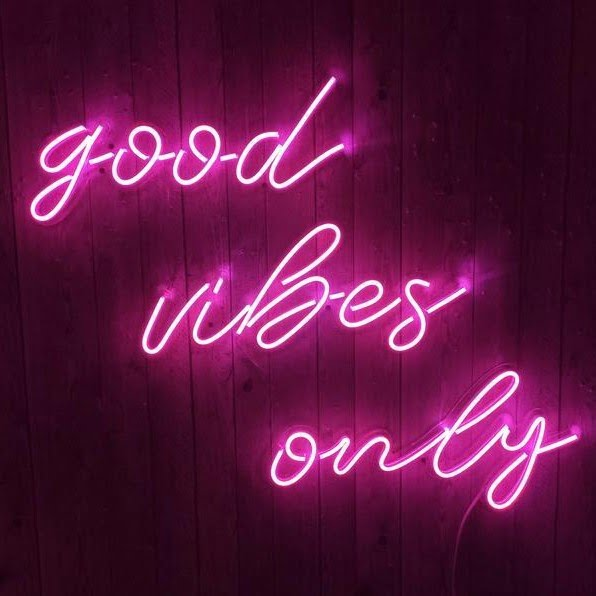 purple good vibes only neon sign